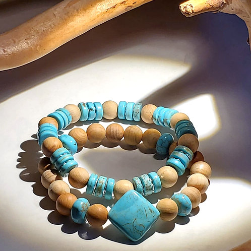 Wood, Turquoise with Silver Plated Copper Bracelet Set
