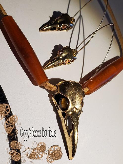 Crow , Bones & Tiger Eye  on Deer Hide Carnelian Earring Set (brass & 14kgold