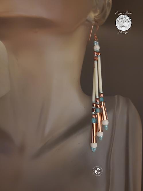 Copper Jingle  ,Amazonite  & Bone  Earrings