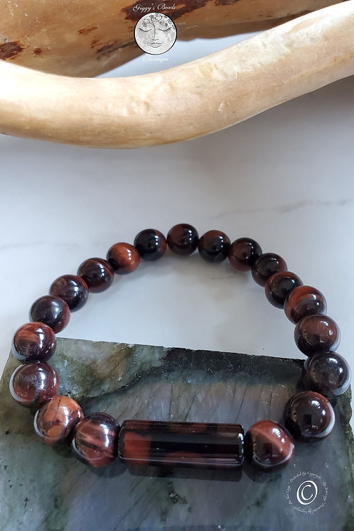 Red Tiger's Eye with feature Glass Tube bead Bracelet
