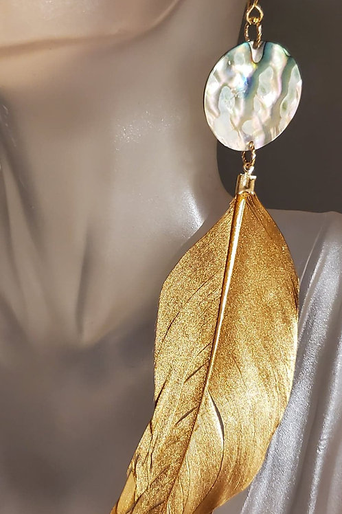 Abalone & Solid Gold Feather Earrings