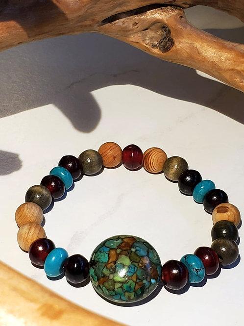 Jasper, Turquoise, Buffalo horn & Wood Bracelet