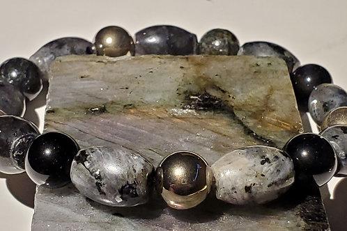 Black Labradorite, Obsidian and Steel Bracelet