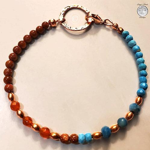 Moon Stone, Turquoise, Carnelion, Goldstone with copper Bracelet