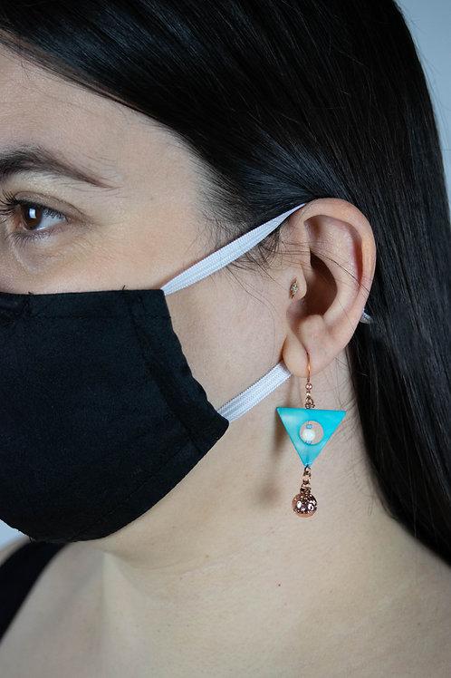Shell, Bone, Copper & Cast Lava Earrings