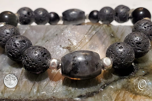 Black Labradorite, Lava, Obsidian & Wood with silver Bracelet