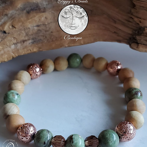 Jasper, Lava Coated with Rose Gold, Sandlewood & Crystal Bracelet