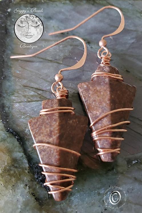 Jasper & Copper Arrowhead Earrings