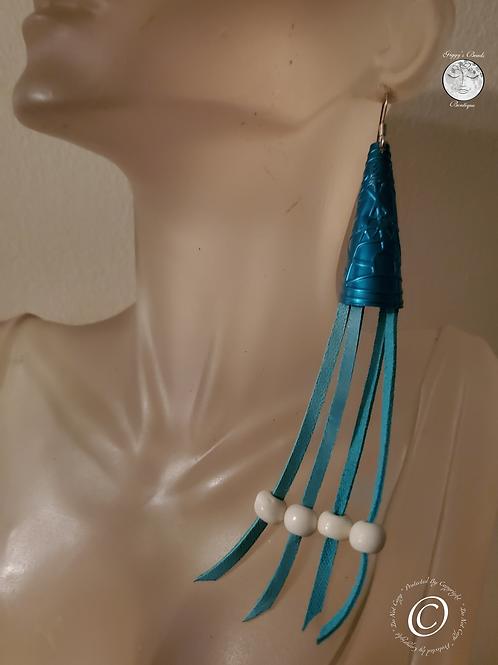 Turquoise Jingle on Deerhide , Bone  & Sterling Silver  Hook Earrings
