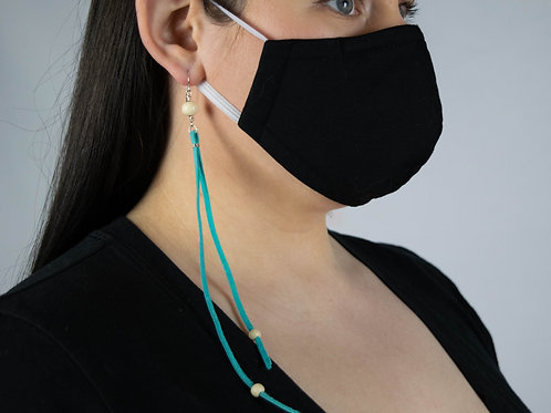 Bone and Turquoise leather Earrings