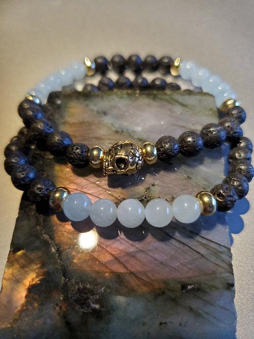 Aquamarine /Lava  Skull Bracelet Set