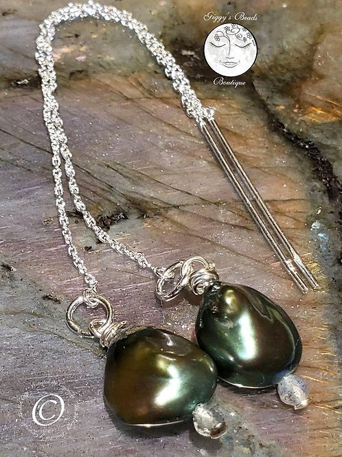 Green Keshi Pearls with Labradorite on Sterling Silver threader earrings