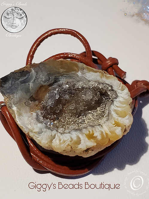 Dainty 1.3 inch  Geode  & Leather  Necklace