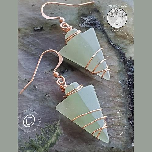 Jade & Copper Arrowhead Earrings
