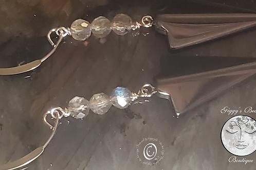 Hematite &   Labradorite on Silver Ear Wires