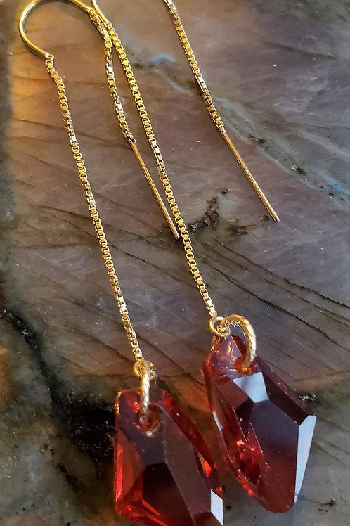 Bordeaux Swarovski Threader Earrings