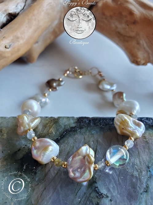 Pearls, Labradorite, Quartz on 24k Gold Wire and 24k Gold Plate beads Bracelet