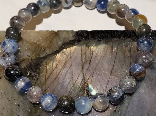 Kyanite with Pyrite feature bead Bracelet