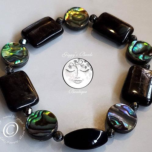 Abalone, Onyx and Hemitite Bracelet