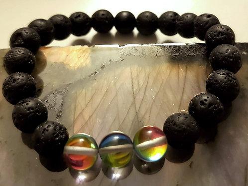 Lava Bead and Aurora Quartz Bracelet