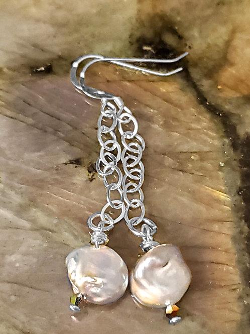 Keshi Pearls on sterling silver Earrings