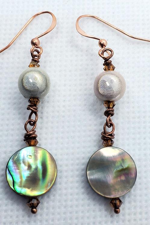 Abalone & Copper Earrings