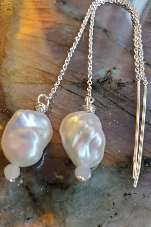 White Keshi Pearls with Labradorite on Sterling Silver threader earrings