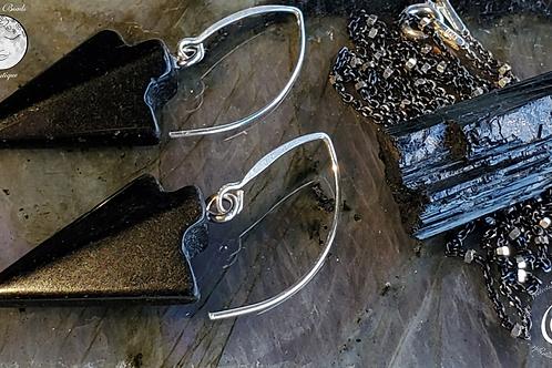 Tourmaline  Necklace & Onyx Arrowhead Earrngs  Set