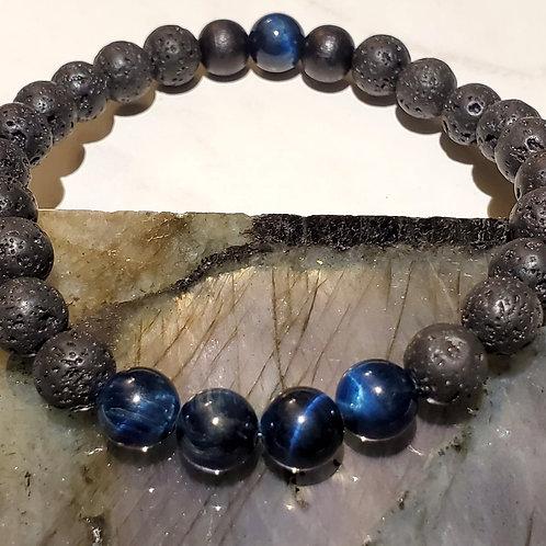 Lava Beads, Blue Tiger's eye with Wood Bracelet