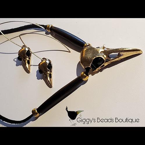 Crow , Bones & Onyx on Deer Hide Necklace &  Earring Set (brass & 14kgoldfill  )
