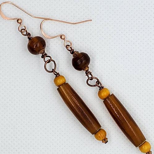 Horn, Wood & Copper Earrings