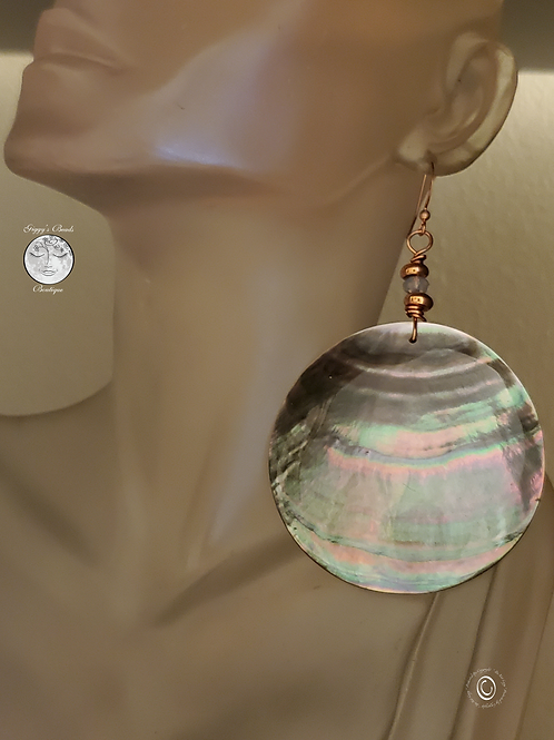 Copper, Swarovski,  Abalone  Earrings
