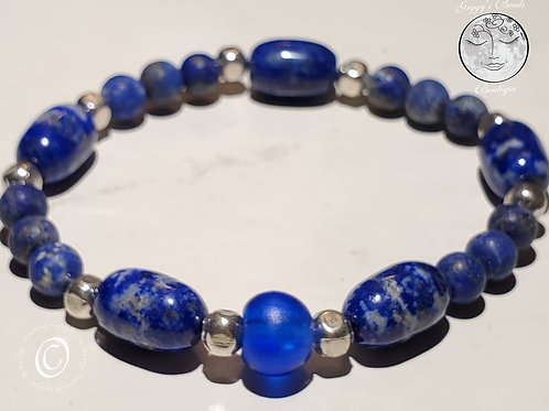 Lapis, Silver over Copper with Trade Bead Bracelet