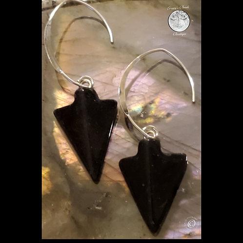Onyx & Sterling Silver Earrngs
