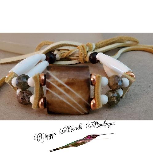 Mother Earh Moss & Wood Bone Bracelet