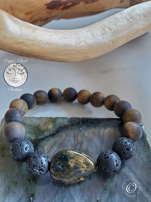 Jasper Feature Bead with Lava & Matt Tiger's Eye Bracelet