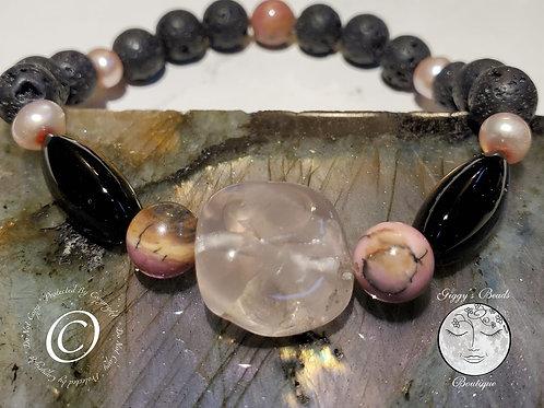 Rose Quartz, Lava beads, Pearl, Onyx and Rhodonite Bracelet