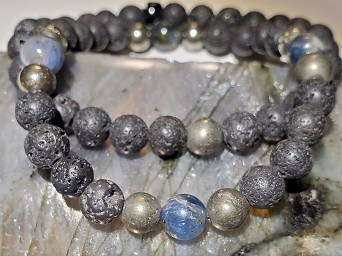 Kyanite, Lava Beads & Pyrite Bracelet Set