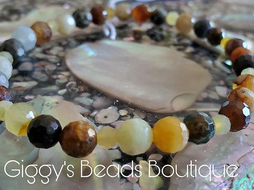 Yellow Opals & Jade  Stretch Bracelet
