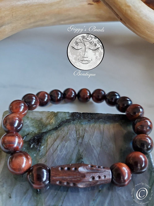 Red Tiger's Eye with Wood feature bead Bracelet