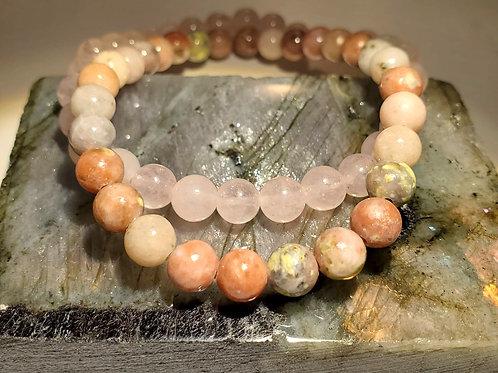Lapidolite & Rose Quartz Bracelet Set