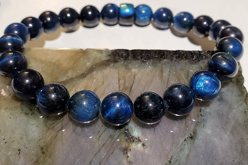 Blue Tiger's Eye and feature Pony Bead Bracelet