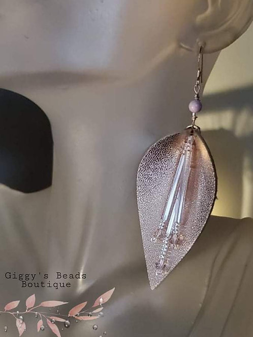 Rose Gold Splash of Colour  &  Leather  Earrings