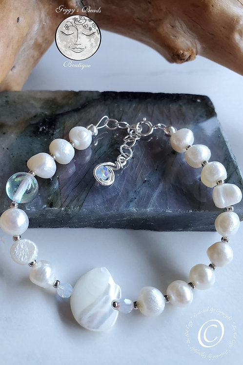 Quartz, Pearl, Paladium bead, Swarovski on Sterling Silver Bracelet