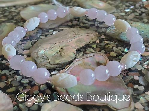 Rose Quartz  & Bone Stretch Bracelet