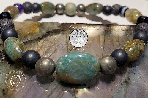 Pyrite, Jasper, Agate, Lava & Onyx  Bracelet
