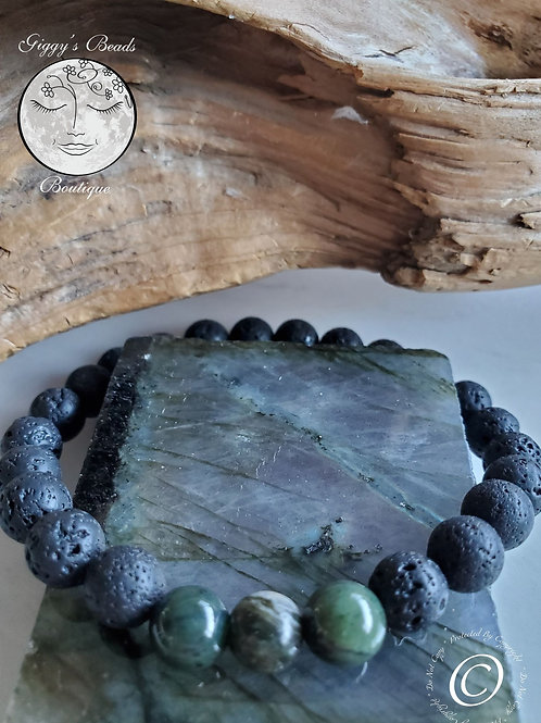 Jade and Lava Beaded Bracelet