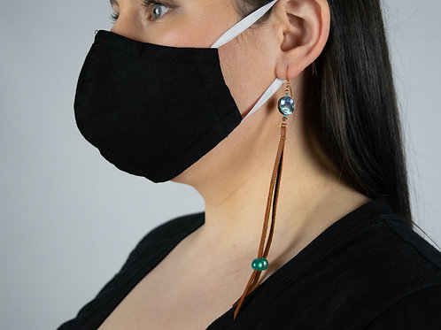 Leather, Abalone & Copper Earrings