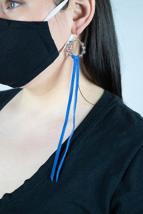 Aurora Quartz and Leather Hoop Earrings