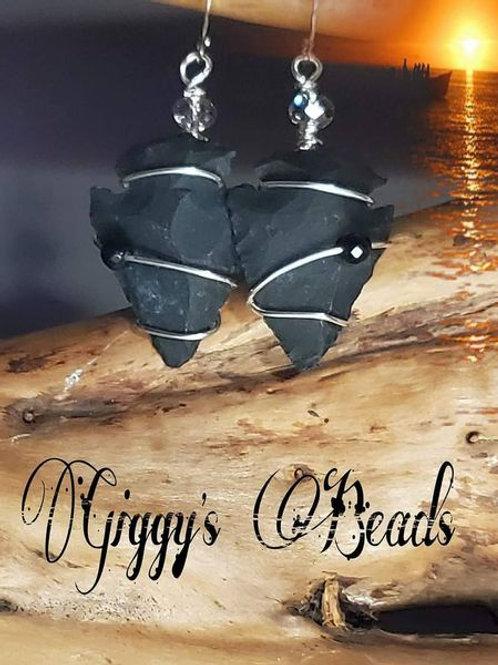 Obsidian silver Wrapped Arrowhead Earrings